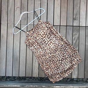 TOPSHOP Sheeny Leopard Print Spaghetti Mini Dress